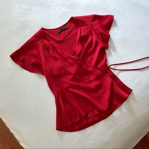 Zara silky red wrap top
